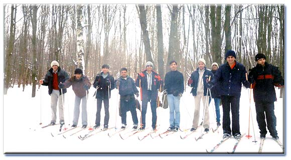 Indian students enjoying skiing