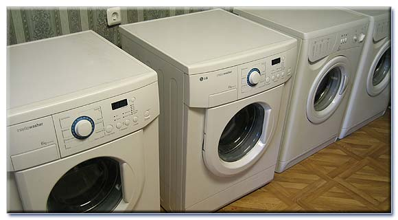 Automatic washing machines in a laundry